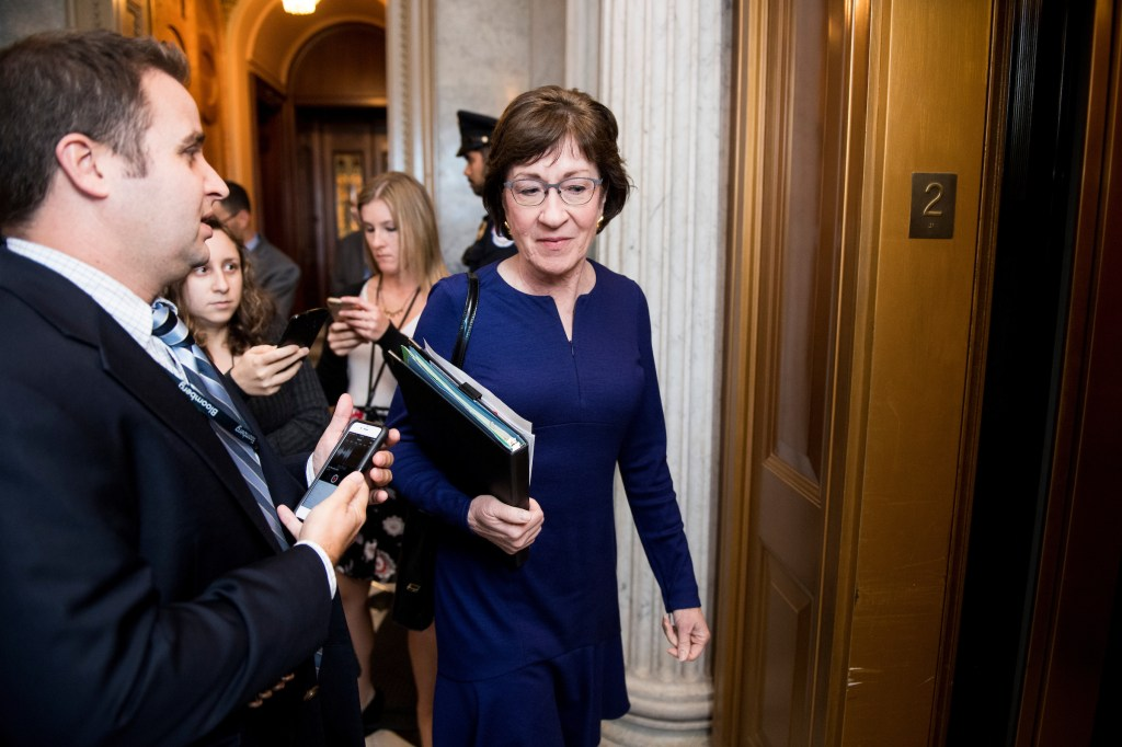 UNITED STATES - OCTOBER 17: Sen. Susan Collins, R-Maine, speaks with reporters as he leaves Senate Republicans' policy lunch on Tuesday, Oct. 17, 2017. (Photo By Bill Clark/CQ Roll Call)
