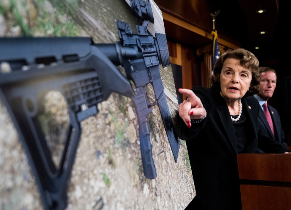 UNITED STATES - OCTOBER 4: Sen. Dianne Feinstein, D-Calif., and Sen. Richard Blumenthal, D-Conn., hold a news conference in the Capitol on Wednesday, Oct. 4, 2017, to introduce legislation to ban the sale and possession of bump-stock equipment used to turn a semiautomatic weapon into an automatic one. (Photo By Bill Clark/CQ Roll Call)