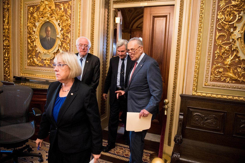 UNITED STATES - OCTOBER 17: From left, Sen. Patty Murray, D-Wash., Sen. Bernie Sanders, I-Vt., Sen. Sheldon Whitehouse, D-R.I., and Senate Minority Leader Chuck Schumer, D-N.Y., leave the Senate Democrats' policy lunch on Tuesday, Oct. 17, 2017. (Photo By Bill Clark/CQ Roll Call)