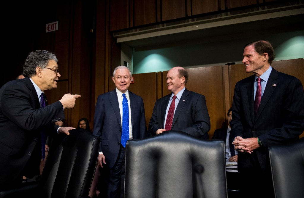 Sen. Al Franken, D-Minn., Attorney General Jeff Sessions Sen. Chris Coons, D-Del., and Sen. Richard Blumenthal, D-Conn., talk as Sessions arrives for the Senate Judiciary Committee hearing on Full committee hearing on