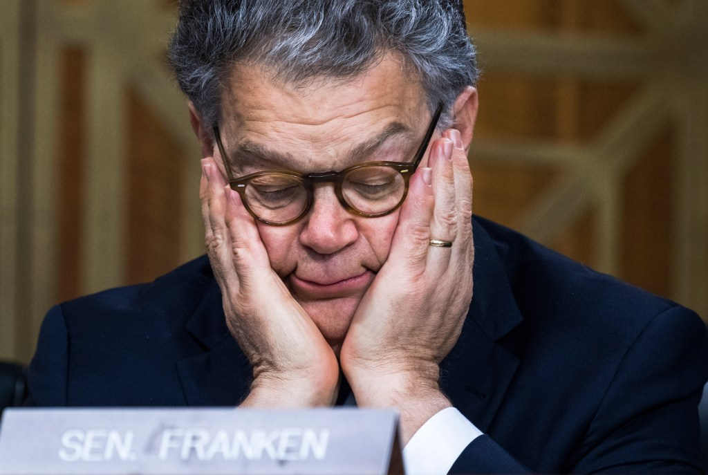 UNITED STATES - JUNE 20: Sen. Al Franken, D-Minn., attends a Senate Energy and Natural Resources Committee hearing in Dirksen Building featuring testimony by Interior Secretary Ryan Zinke on the department's FY2018 budget request on June 20, 2017. (Photo By Tom Williams/CQ Roll Call)