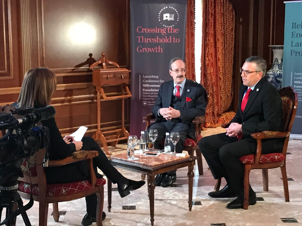 Congressman Eliot Engel and Millennium Challenge Corporation Chief Operating Officer Jonathan Nash interview with Radio Free Europe in Pristina, Kosovo on November 20. (Courtesy Millennium Challenge Corporation)
