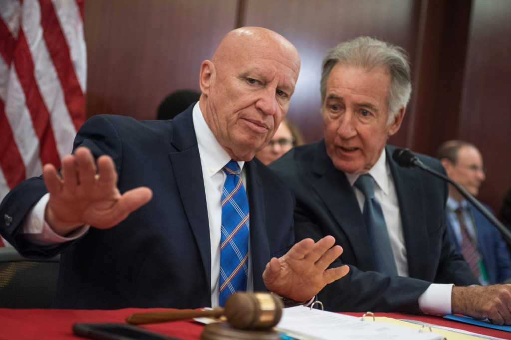 Ways and Means chairman Rep. Kevin Brady, R-Texas, left, and ranking member Rep. Richard Neal, D-Mass., prepare for the Senate-House Conference Committee meeting on the Tax Cuts and Jobs Act in the Capitol on December 13, 2017. (Photo By Tom Williams/CQ Roll Call)