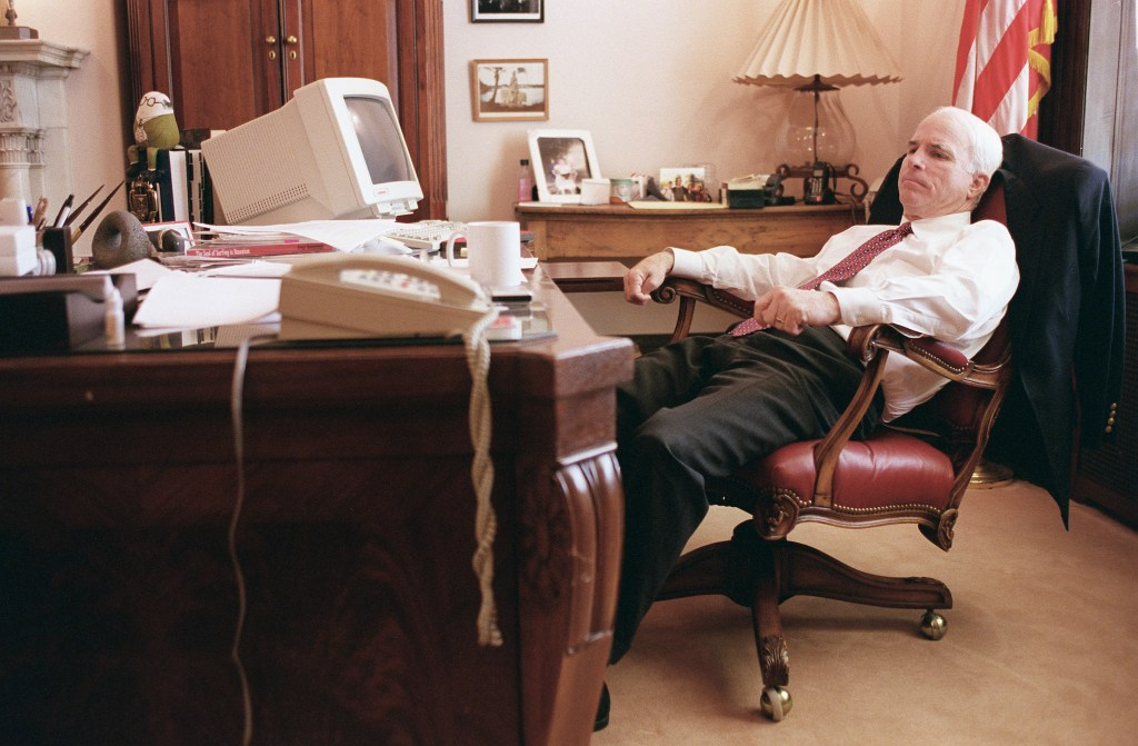 Talking to his scheduler on the speaker phone in the late afternoon in May, 1998. (CONGRESSIONAL QUARTERLY PHOTO BY SCOTT J. FERRELL)