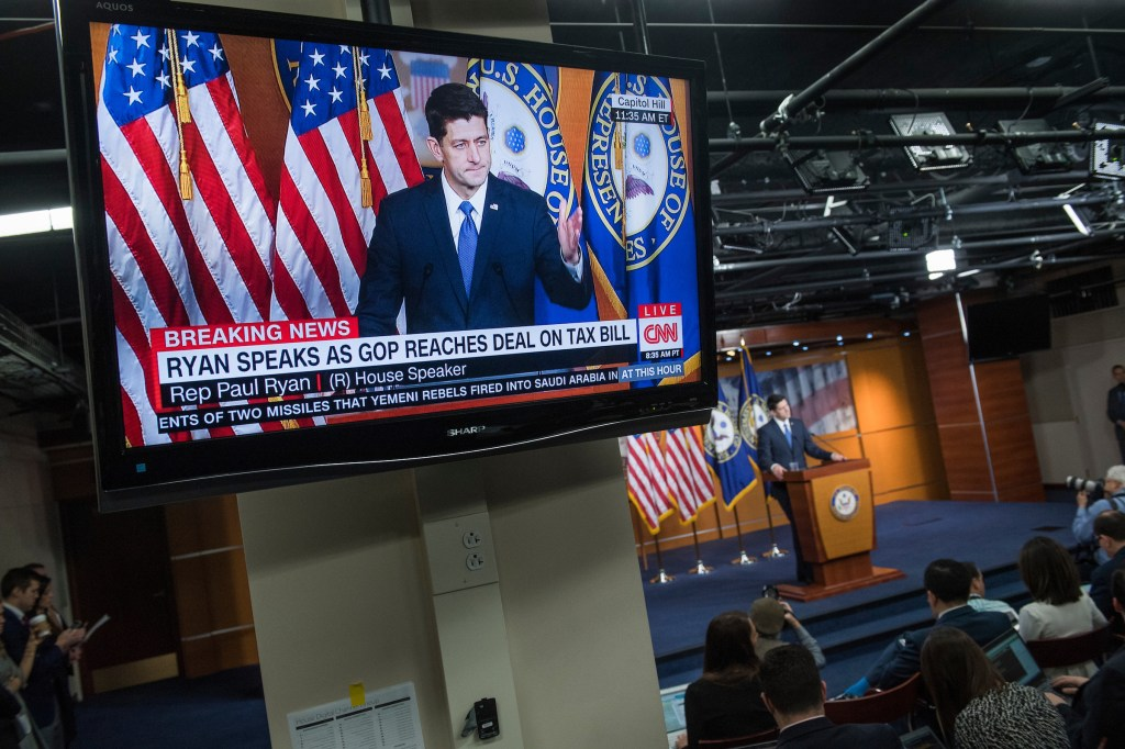 Speaker Paul Ryan, R-Wis., conducts his weekly news conference in the Capitol Visitor Center on December 14, 2017. (Photo By Tom Williams/CQ Roll Call)