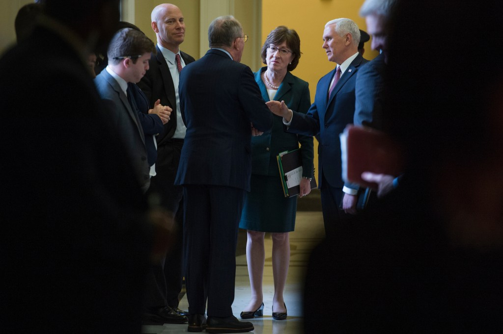 From left, Marc Short, White House director of legislative affairs, Sens. Lamar Alexander, R-Tenn., Susan Collins, R-Maine, and Vice President Mike Pence, are seen outside of the Republican Senate Policy luncheon in the Capitol on December 12, 2017. (Photo By Tom Williams/CQ Roll Call)