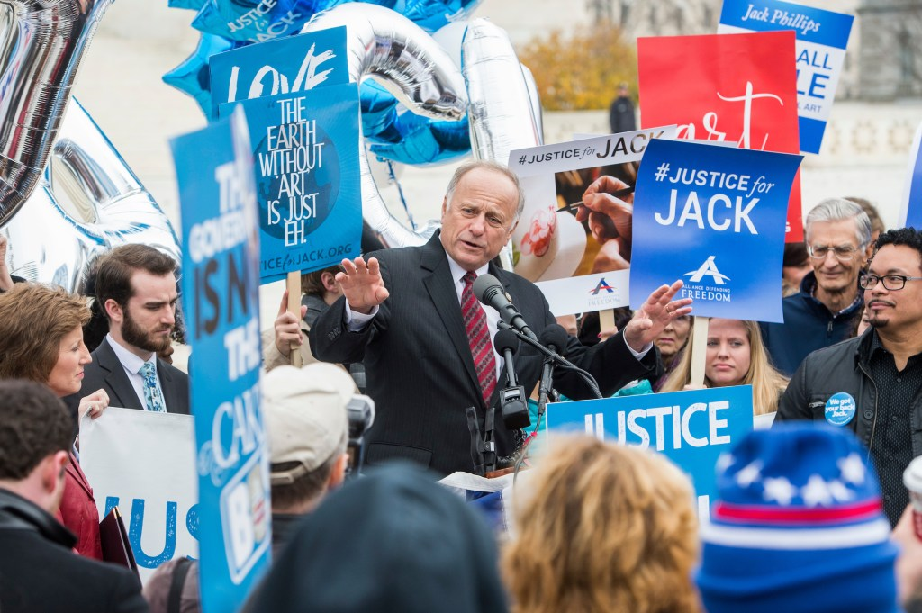 UNITED STATES - DECEMBER 05: Rep. Steve King, R-Iowa, speaks outside the Supreme Court in support of a Colorado baker who refused to make a wedding cake for a same-sex couple siting that his religious beliefs were protected by the First Amendment on December 5, 2017. (Photo By Tom Williams/CQ Roll Call)