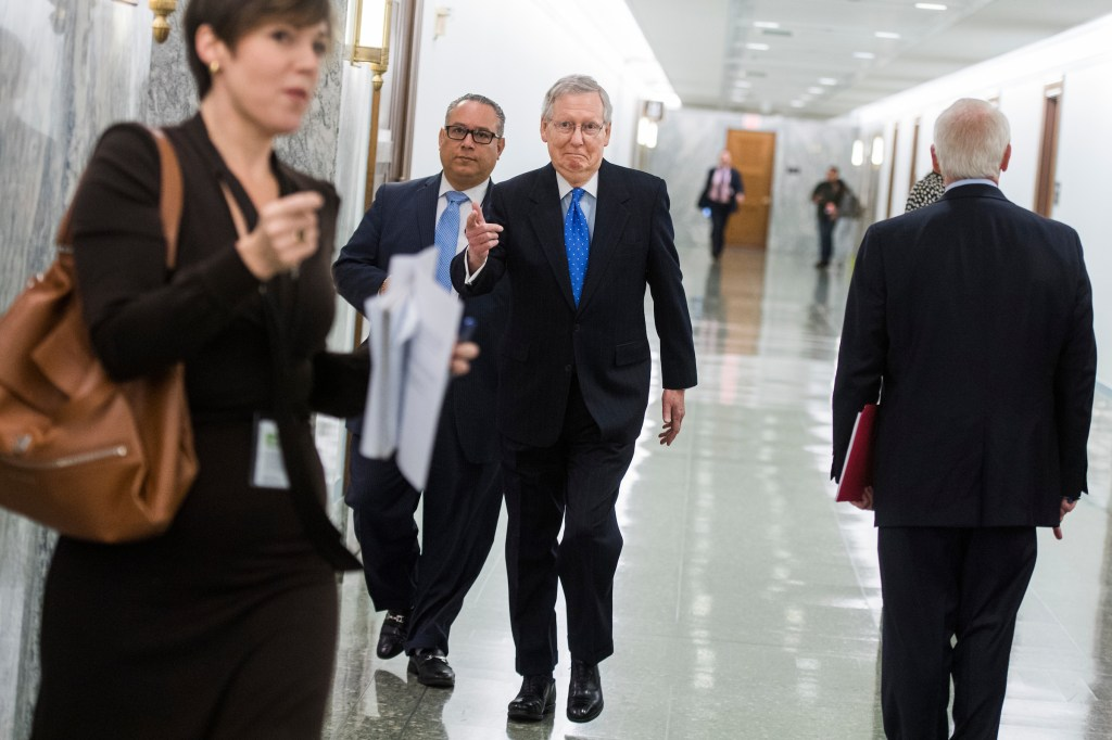 UNITED STATES - NOVEMBER 30: Senate Majority Leader Mitch McConnell, R-Ky., arrives for a news conference in Dirksen Building on the importance of passing the tax reform bill for small businesses on November 30, 2017. (Photo By Tom Williams/CQ Roll Call)