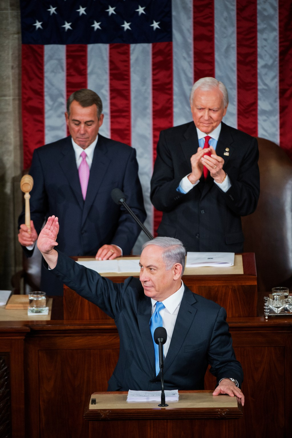 UNITED STATES - MARCH 03: Israeli Prime Minister Benjamin Netanyahu prepares to address a joint meeting of Congress in the House chamber as Speaker John Boehner, R-Ohio, left, and Sen. Orrin Hatch, R-Utah, president pro tempore of the Senate, on look, March 3, 2015. (Photo By Tom Williams/CQ Roll Call)
