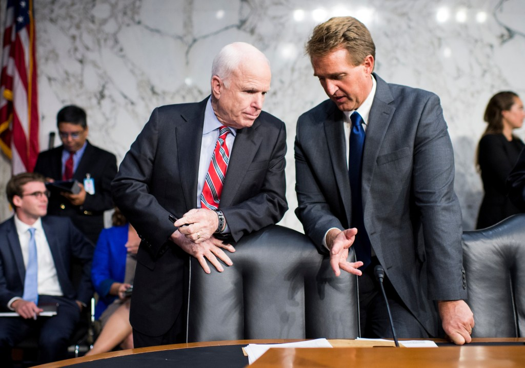 Arizona's two Republican senators, John McCain, left, and Jeff Flake, right, and Wednesday pushed back on President Donald Trump's attacks on the press. (Bill Clark/CQ Roll Call file photo)