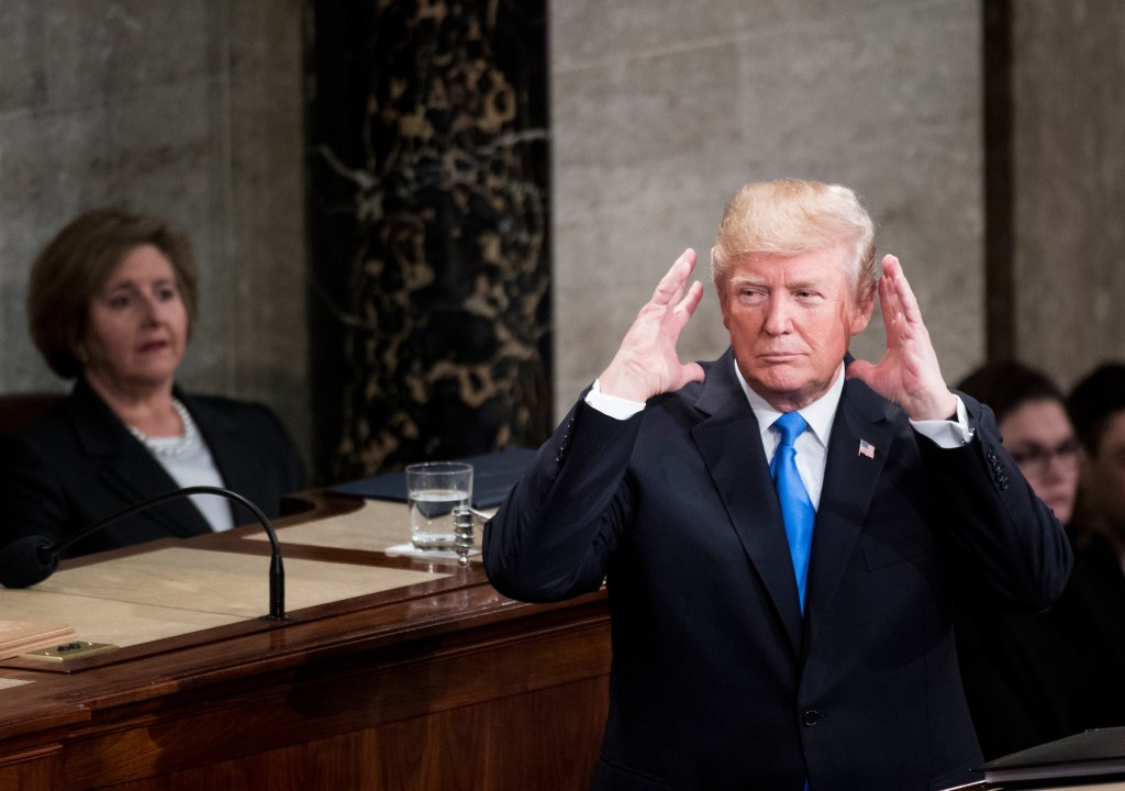 President Donald Trump speaks during the joint session of Congress to deliver his State of the Union Address in the Capitol on Tuesday, Jan. 30, 2018. (Bill Clark/CQ Roll Call)