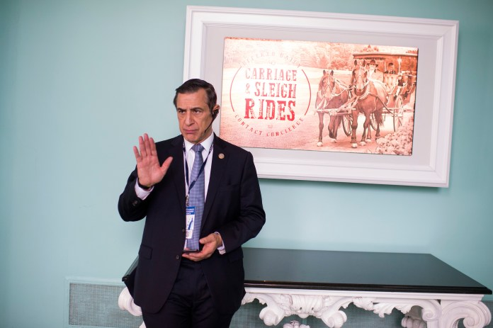 UNITED STATES - FEBRUARY 01: Rep. Darrell Issa, R-Calif., attends a luncheon featuring a speech by President Donald Trump at the House and Senate Republican retreat at The Greenbrier resort in White Sulphur Springs, W.Va., on February 1, 2018. (Photo By Tom Williams/CQ Roll Call)