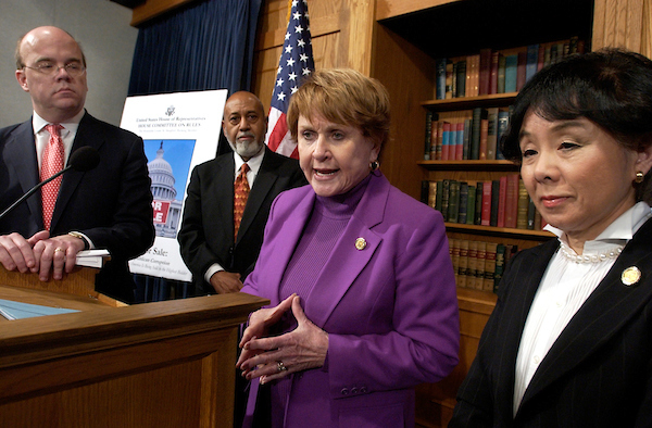 Rep. Louise Slaughter, D-N.Y., speaks at a news conference with Reps. Jim McGovern, D-Mass., left, Alcee Hastings, D-Fla., and Doris Matsui, D-Calif., announcing a House Rules reform package designed to eliminate many of the most damaging and unethical abuses now commonplace in Congress.