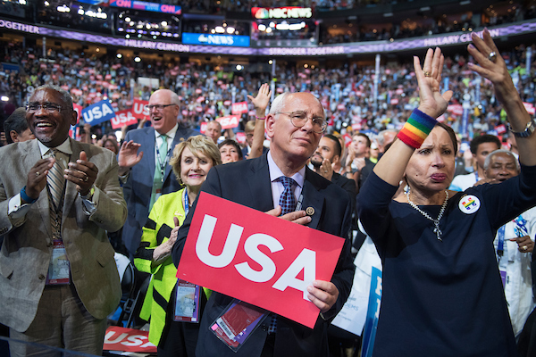 UNITED STATES - JULY 28: From left, New York Reps. Gregory Meeks, Joe Crowley, Louise Slaughter, Paul Tonko, and Nydia Velazquez, cheer on the floor of the Wells Fargo Center in Philadelphia, Pa., on the final night of the Democratic National Convention, July 28, 2016, at which Democratic presidential nominee Hillary Clinton addressed the crowd. (Photo By Tom Williams/CQ Roll Call)