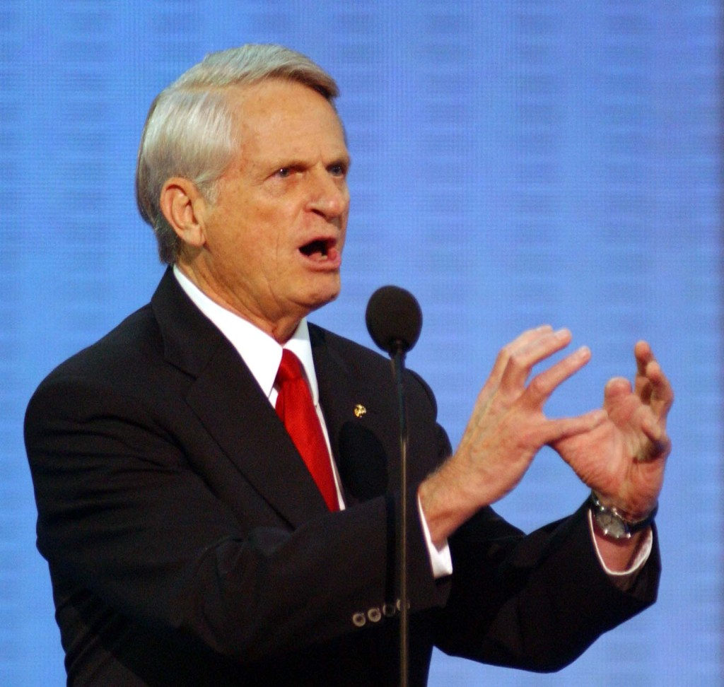 9/01/04.2004 REPUBLICAN NATIONAL CONVENTION--Sen. Zell Miller, D-Ga., endorses President Bush as he delivers the keynote speech during during the Republican National Convention..CONGRESSIONAL QUARTERLY PHOTO BY SCOTT J. FERRELL