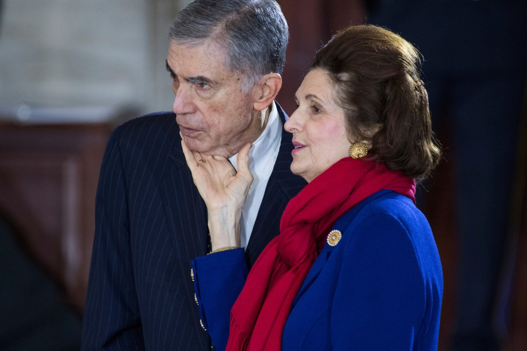 UNITED STATES - FEBRUARY 28: Former Sen. Chuck Robb, D-Va., and his wife Lynda Johnson Robb, attend a ceremony in the Capitol Rotunda as the late Rev. Billy Graham lies in honor on February 28, 2018. (Photo By Tom Williams/CQ Roll Call)
