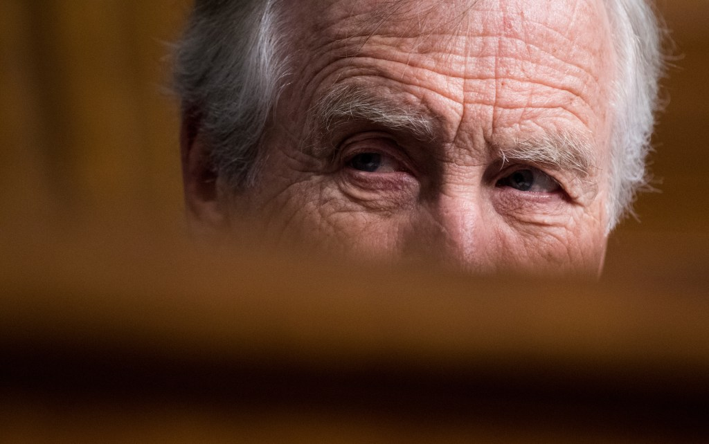 UNITED STATES - MARCH 1: Sen. Angus King, I-Maine, listens during the confirmation hearing for Lt. Gen. Paul Nakasone, nominee to be NSA director and commander of U.S. Cyber Command, during the Senate Armed Services Committee hearing on Thursday, March 1, 2018. (Photo By Bill Clark/CQ Roll Call)