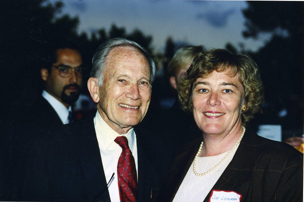 Former Rep. Don Edwards, left, and Rep. Zoe Lofgren after she was elected to the House. (Courtesy of Lofgren)