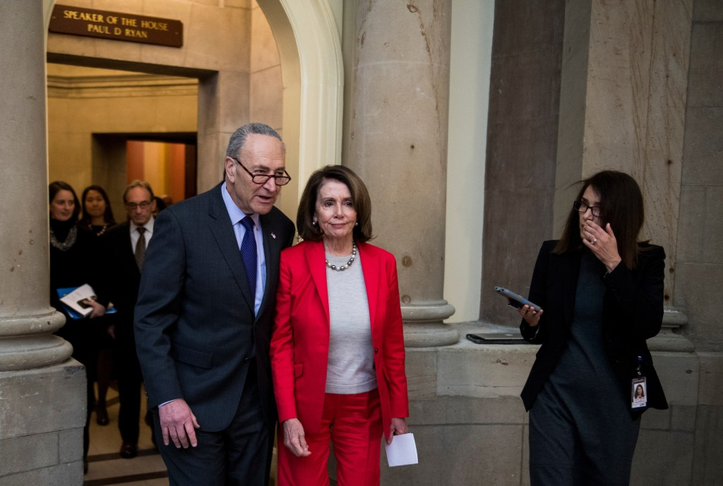UNITED STATES - MARCH 21: Senate Minority Leader Chuck Schumer, D-N.Y., and House Minority Leader Nancy Pelosi, D-Calif., speak to reporters following a meeting of House and Senate leaders in Speaker Ryan's office on the $1.3 trillion fiscal 2018 omnibus appropriations bill on Wednesday, March 21, 2018. (Photo By Bill Clark/CQ Roll Call)