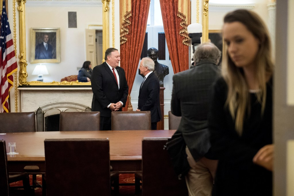UNITED STATES - MARCH 19: Senate Foreign Relations Chairman Bob Corker, R-Tenn., right, meets with Secretary of State nominee Mike Pompeo in the Senate Foreign Relations Committee room in the Capitol on Monday, March 19, 2018. (Photo By Bill Clark/CQ Roll Call)