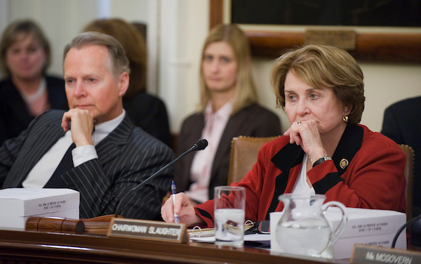 Slaughter, chairwoman of the Rules Committee, and ranking member David Dreier, R-Calif., conduct a meeting to consider a technical fix to the health care reconciliation bill in March 25, 2010. (CQ Roll Call file photo)