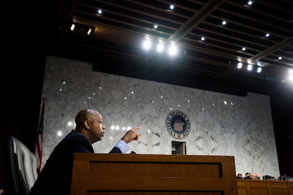 Sen. Tim Scott, R-S.C., questions Army Gen. Joseph Votel, commander of the United States Central Command, and Marine Corps Gen. Thomas Waldhauser, commander of the United States Africa Command, on Tuesday. (Bill Clark/CQ Roll Call)