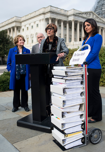 UNITED STATES - NOVEMBER 18: From left, Rep. Louise Slaughter, D-N.Y., Rep. Mark Pocan, D-Wis., Rep. Rosa DeLauro, D-Conn., and Rep. Tulsi Gabbard, D-Hawaii, hold a news conference on the Trans-Pacific Partnership outside of the U.S. Capitol on Wednesday, Nov. 18, 2015. (Photo By Bill Clark/CQ Roll Call)