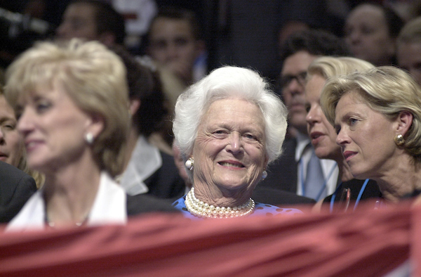 GOPconvention30(DG)080200 -- Former President George Bush's wife Barbara, the candidate's mother, was among those in attendance as the evening got under way at the First Union Center in Philadelphia, Pa.