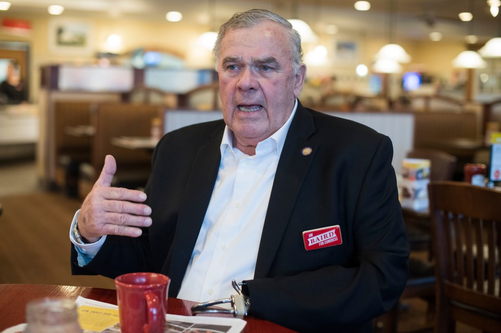 UNITED STATES - APRIL 3: Jim Baird, who is running for the Republican nomination for Indiana's 4th Congressional District, is interviewed in Avon, Ind., on April 3, 2018. (Photo By Tom Williams/CQ Roll Call)