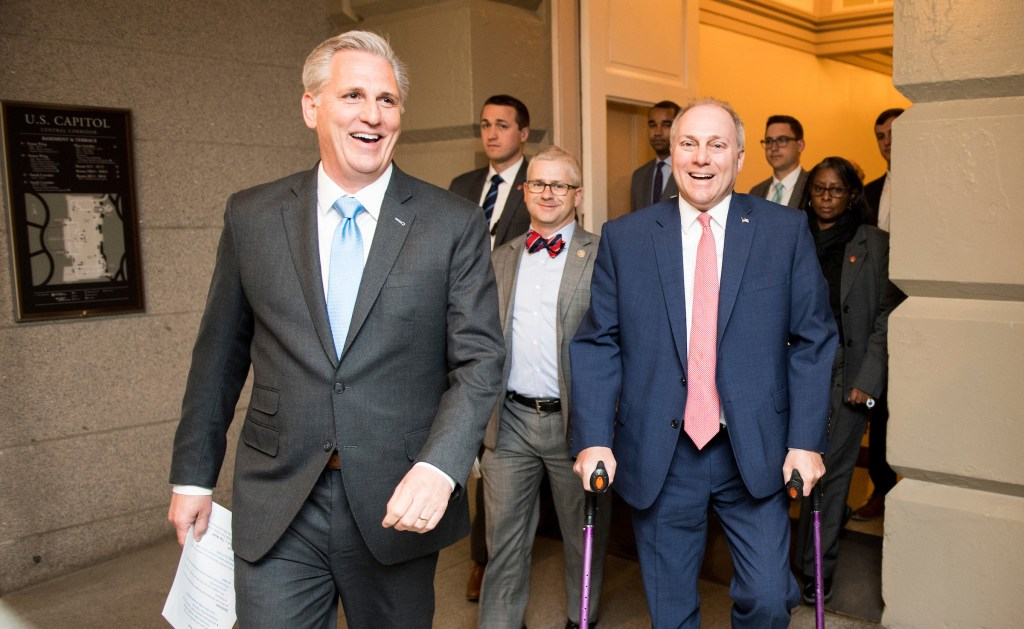 From left, House Majority Leader Kevin McCarthy, R-Calif., Chief Deputy Whip Patrick McHenry, R-N.C., and House Majority Whip Steve Scalise, R-La., arrive for the House Republican Conference meeting in the basement of the Capitol as reports of Speaker Paul Ryan not running for reelection spread on Wednesday, April 11, 2018. (Photo By Bill Clark/CQ Roll Call)