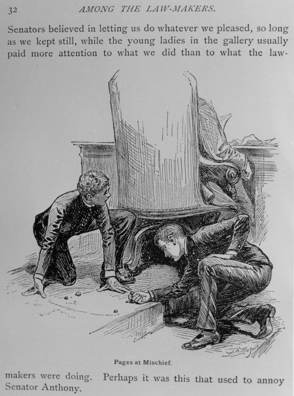 "An illustration of pages playing marbles behind a lawmaker's desk from Edmund Alton's 1886 novel ""Among the Law-Makers."