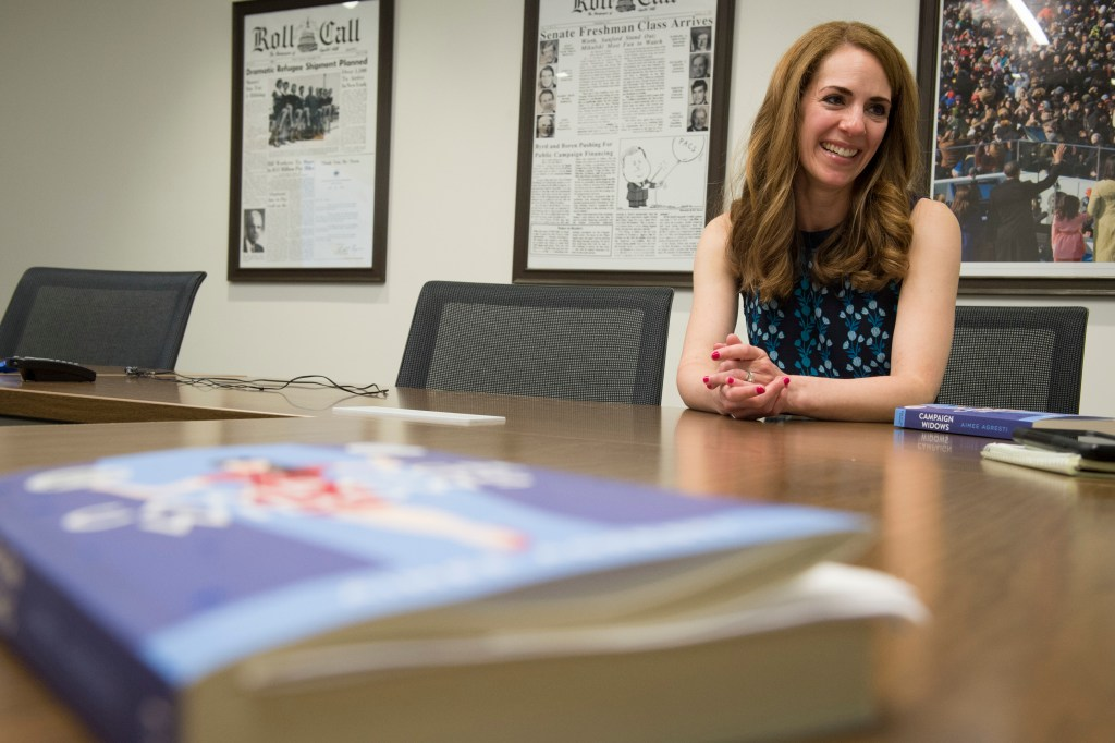 UNITED STATES - MAY 2: Aimee Agresti, author of 'Campaign Widows,' speaks with Roll Call about her real life experiences as the wife of someone who works in politics and how that influenced her new fictional book. (Photo By Sarah Silbiger/CQ Roll Call)