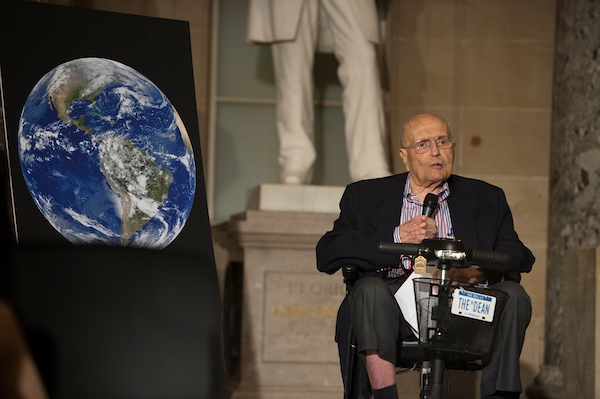 Former Rep. John Dingell, D-Mich., speaks at an event held by The Capitol Historical Society to honor the House Energy and Commerce Committee in Statuary Hall in the Capitol on Wednesday. ( Sarah Silbiger/CQ Roll Call)