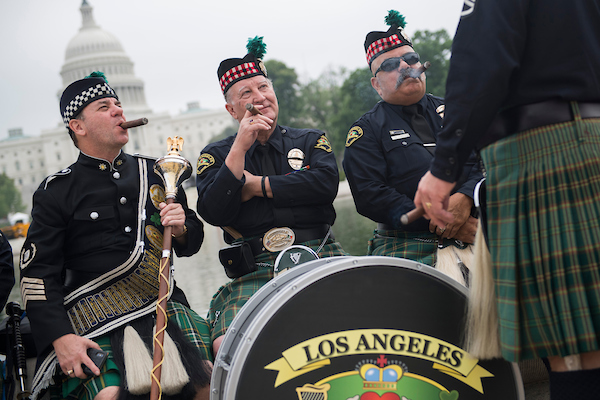 UNITED STATES - MAY 14: From left, Drum Major Ken Misch, Drum Sgt. Charlie Ezelle, and Roberto