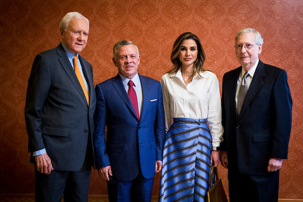 UNITED STATES – June 26: From left: Sen. Orrin Hatch, R-Utah, Jordan's King Abdullah II and Queen Rania and Senate Majority Leader Mitch McConnell, R-Ky., pose for a photo before their meeting Tuesday, June 26, 2018. (Photo By Sarah Silbiger/CQ Roll Call)