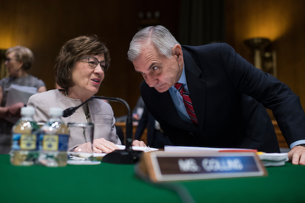 UNITED STATES - JUNE 7: Sens. Jack Reed, D-R.I., and Susan Collins, R-Maine, talk before a Senate Appropriations Committee markup in Dirksen Building on June 7, 2018. (Photo By Tom Williams/CQ Roll Call)