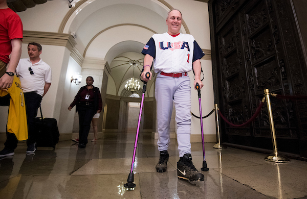 UNITED STATES - JUNE 14: House Majority Whip Steve Scalise, R-La., leaves the Capitol for the Congressional Baseball Game on Thursday, June 14, 2018. Scalise was wounded a year ago this day during the shooting at the Republican's baseball practice in Alexandria, Va. (Photo By Bill Clark/CQ Roll Call)