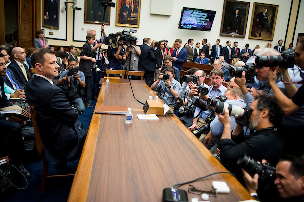 FBI Deputy Assistant Director Peter Strzok prepares to testify in front of the House Judiciary Committee and House Oversight and Government Reform Committee during a joint hearing on, 'Oversight of FBI and DOJ Actions Surrounding the 2016 Election' Thursday July 12, 2018. (Photo By Sarah Silbiger/CQ Roll Call)