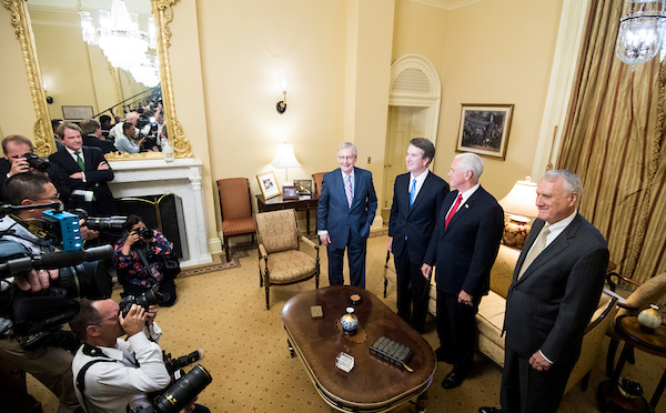 UNITED STATES - JULY 10: From left, Senate Majority Leader Mitch McConnell, R-Ky., Supreme Court nominee Brett Kavanaugh, Vice President Mike Pence, and former Sen. Jon Kyl, R-Ariz., meet in McConnell's office in the Capitol on Tuesday, July 10, 2018, the day after President Donald Trump nominated Kavanaugh to the Supreme Court. (Photo By Bill Clark/CQ Roll Call)
