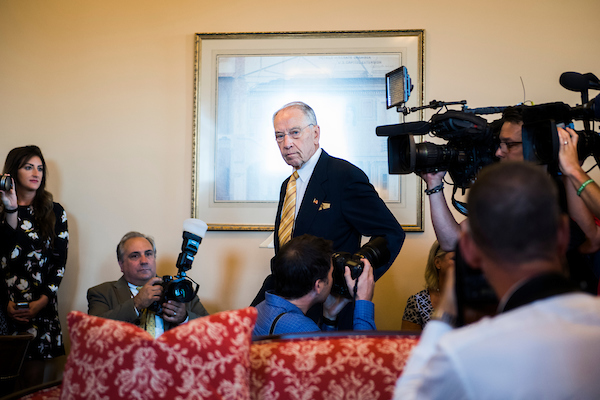 UNITED STATES - JULY 10: Senate Judiciary Committee Chairman Charles Grassley, R-Iowa, arrives with Supreme Court nominee Brett Kavanaugh, off camera, for a photo-op in the Capitol on July 10, 2018. (Photo By Tom Williams/CQ Roll Call)