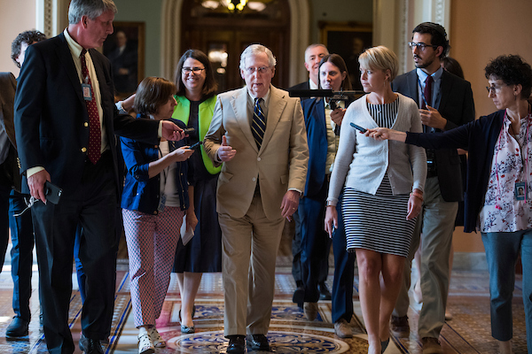 UNITED STATES - JULY 16: Senate Majority Leader Mitch McConnell, R-Ky., talks with reporters in the Capitol on July 16, 2018. (Photo By Tom Williams/CQ Roll Call)