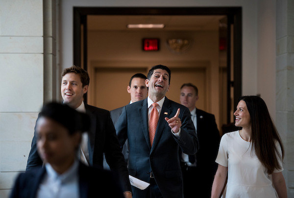 UNITED STATES - JULY 12: Speaker of the House Paul Ryan, R-Wisc., talks with staff as he walks to his weekly press conference in the Capitol on Thursday, July 12, 2018. (Photo By Bill Clark/CQ Roll Call)