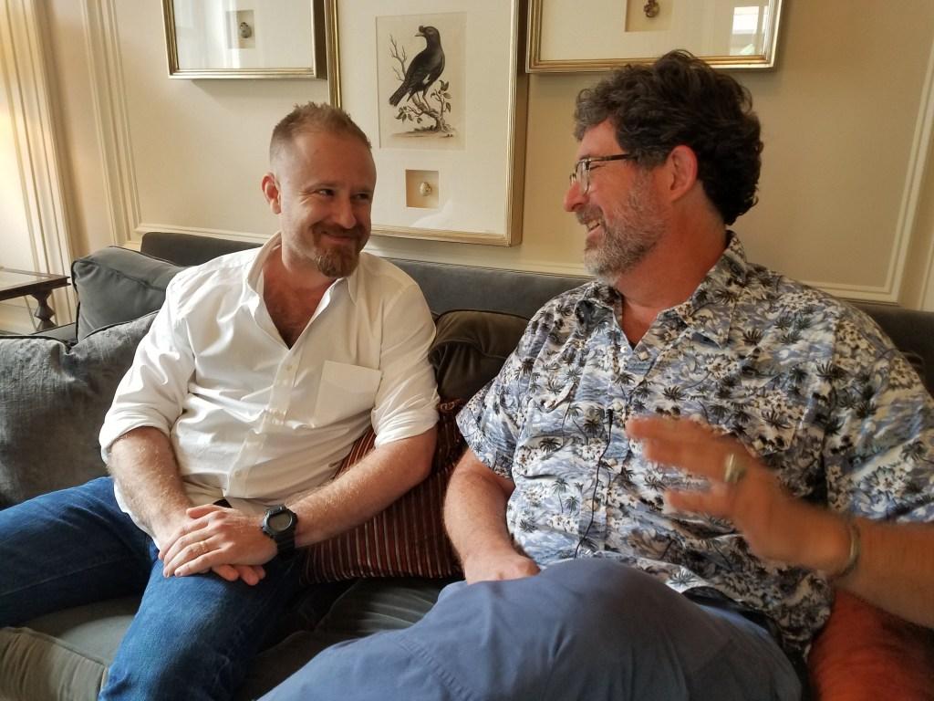 Ben Foster, left, discusses his latest movie