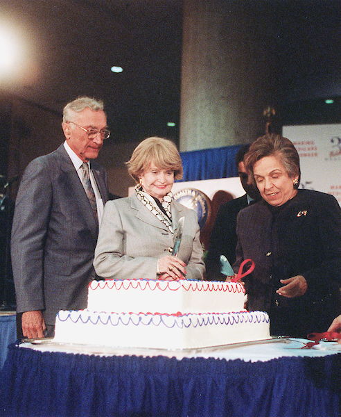 7/12/00.CELEBRATING 35 YEARS OF MEDICARE--Former Congresswoman Margaret M. Heckler joins Secretary of Health and Human Services Donna E. Shalala in celebrating 35 years of Medicare..CONGRESSIONAL QUARTERLY PHOTO BY EMILY BARNES