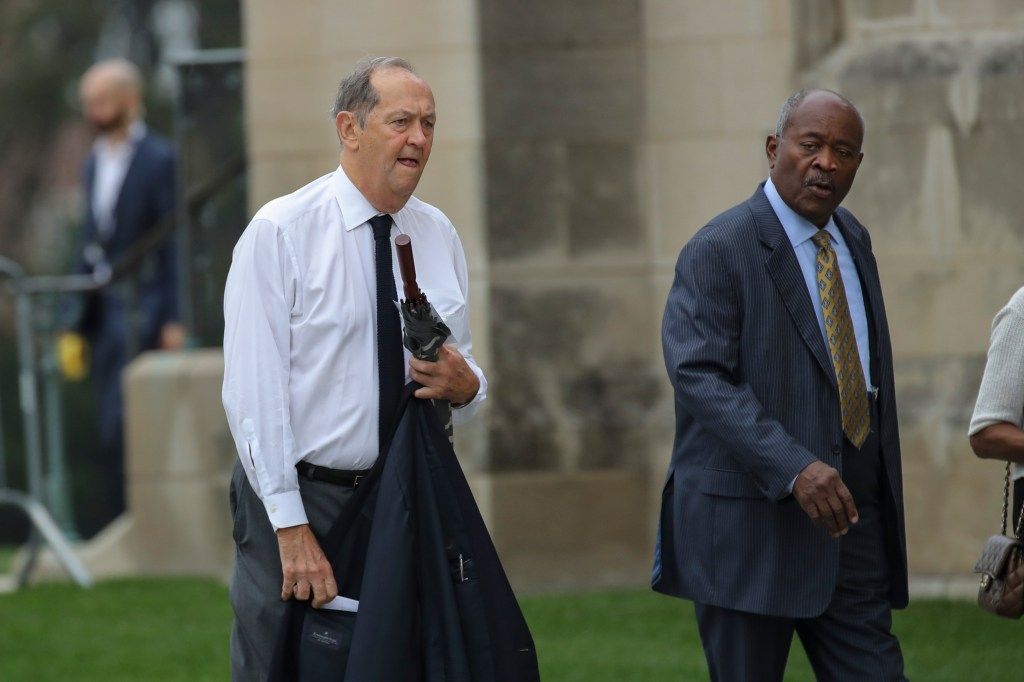 WASHINGTON, DC - SEPTEMBER 1: Former Senator Bill Bradley arrives at the Washington National Cathedral for the funeral service for the late Senator John McCain, September 1, 2018 in Washington, DC. Former presidents Barack Obama and George W. Bush are set to deliver eulogies for McCain in front of the 2,500 invited guests. McCain will be buried on Sunday at the U.S. Naval Academy Cemetery. (Photo by Drew Angerer/Getty Images)