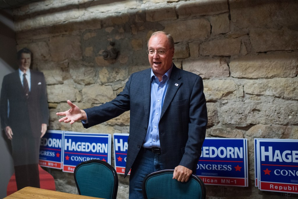 UNITED STATES - SEPTEMBER 19: Jim Hagedorn, Republican candidate for Minnesota's 1st Congressional District, is interviewed in his campaign office in Mankato, Minn., on September 19, 2018. (Photo By Tom Williams/CQ Roll Call)