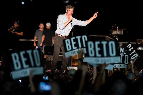 UNITED STATES - SEPTEMBER 29: Democratic candidate for U.S. Senate from Texas Rep. Beto O'Rourke speaks to the crowd at his Turn out For Texas Rally, featuring a concert by Wille Nelson, in Austin, Texas on Saturday, Sept. 29, 2018. (Photo By Bill Clark/CQ Roll Call)
