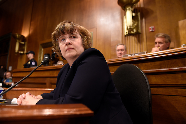 Prosecutor Rachel Mitchell prepares to question Blasey Ford. Mitchell will conduct questioning for the Republicans on the Senate Judiciary panel. (AFP PHOTO / POOL / Saul LOEB)
