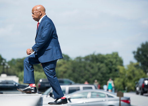 UNITED STATES - SEPTEMBER 26: Rep. John Lewis, D-Ga., walks up the House steps for a vote in the Capitol on Wednesday, Sept. 26, 2018. (Photo By Bill Clark/CQ Roll Call)