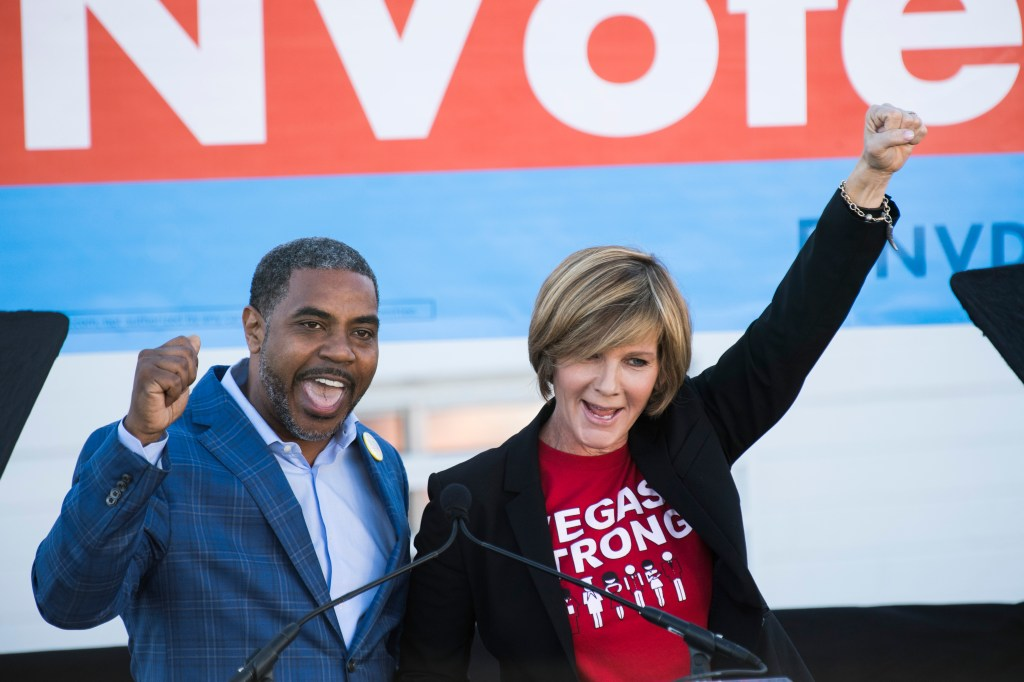 UNITED STATES - OCTOBER 20: Steven Horsford, candidate for Nevada's Fourth Congressional District, and Susie Lee, Democratic candidate for Nevada's Third Congressional District, speak at the Nevada Democrats' early vote rally, which featured former Vice President Joe Biden, at the Culinary Workers Union Local 226 in Las Vegas on Saturday, Oct. 20, 2018, the first day of early voting in Nevada. (Photo By Bill Clark/CQ Roll Call)